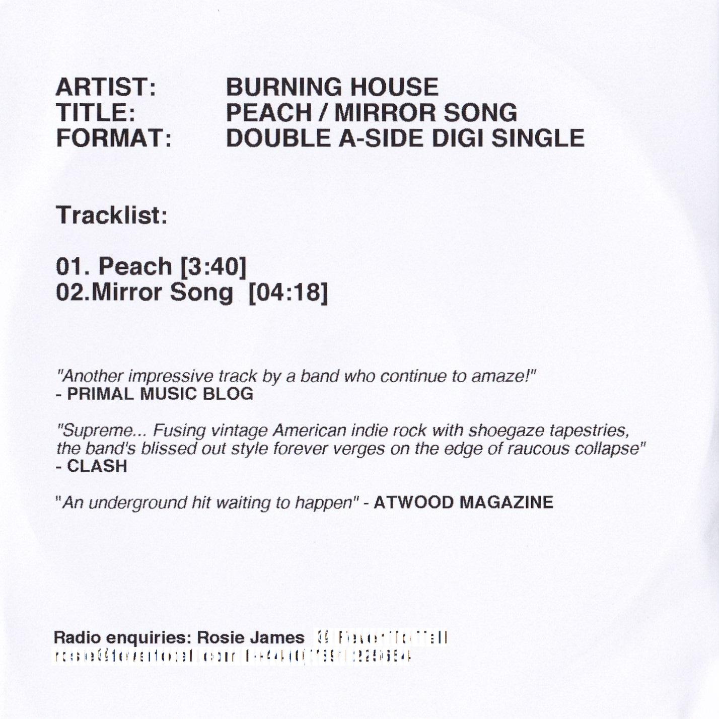 Peach / Mirror Song – 2 Track Promo CD